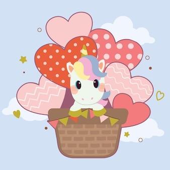 Simpatico unicorno seduto nella mongolfiera nel cielo
