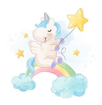 Unicorno sveglio che si siede sull'arcobaleno con l'illustrazione delle stelle