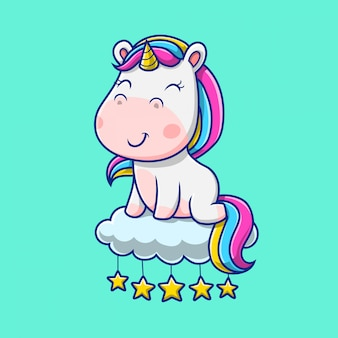 Unicorno carino seduto nell'illustrazione del cielo