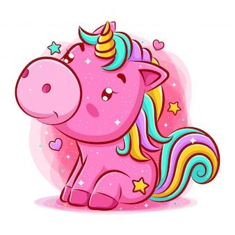Unicorno sveglio che si siede e che sorride
