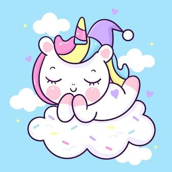 Simpatico cartone animato di sonno unicorno su animale kawaii nuvola di caramelle