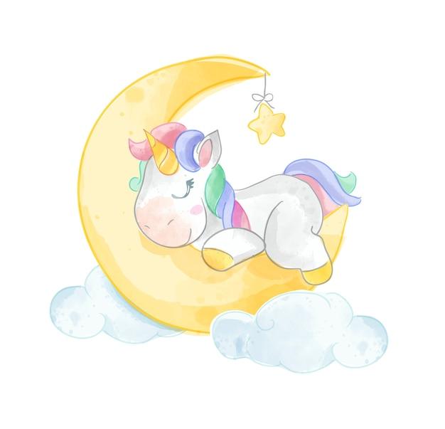 Unicorno sveglio che dorme sull'illustrazione della luna