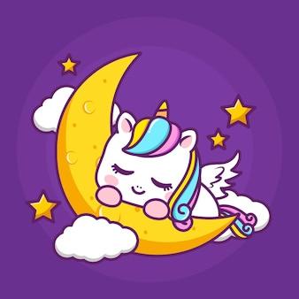 Simpatico unicorno che dorme sulla luna