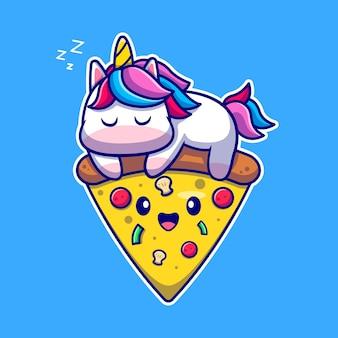 Unicorno sveglio che dorme sul personaggio dei cartoni animati di pizza. cibo per animali isolato.