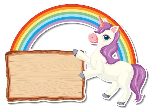 Simpatici adesivi unicorno con modello di banner in legno bianco