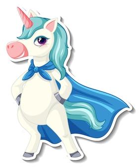Simpatici adesivi unicorno con un unicorno super eroe