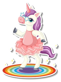 Simpatici adesivi unicorno con un personaggio dei cartoni animati unicorno che balla