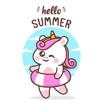 Simpatico unicorno alla festa d'estate
