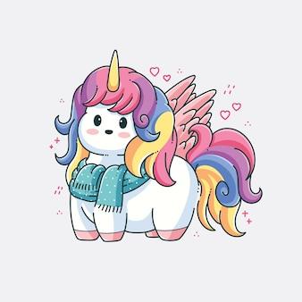 Disegno di illustrazione vettoriale di unicorno carino