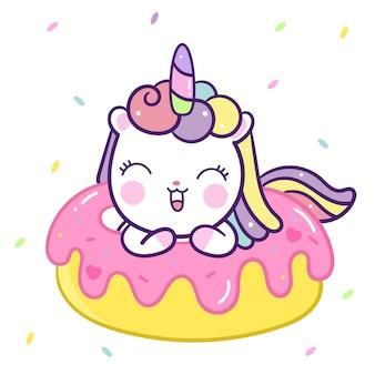Vettore di unicorno carino con cartoon ciambella