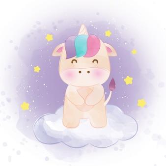 Unicorno carino in stile acquerello Vettore Premium