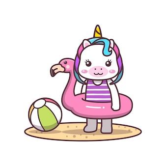 Simpatico unicorno che indossa un cartone animato con anello da bagno fenicottero