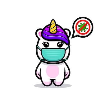 Simpatico unicorno che indossa una maschera per prevenire il design della mascotte del virus