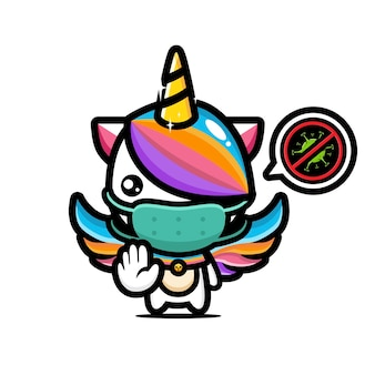 Simpatico unicorno che indossa una maschera con posa del virus di arresto