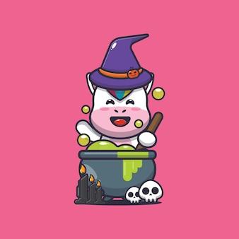Simpatica strega unicorno che fa pozioni simpatica illustrazione del fumetto di halloween
