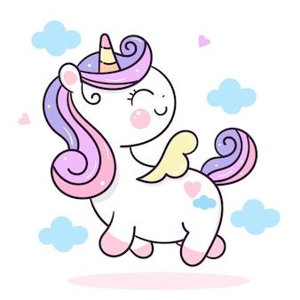 Unicorno carino con ali d'angelo kawaii cartoon