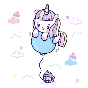 Unicorno carino con palloncino in stile kawaii cartoon