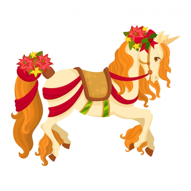 Unicorno carino con fiori di natale