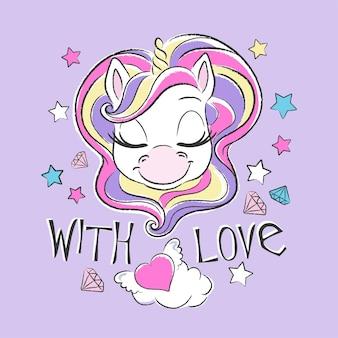 Unicorno carino con capelli colorati e stelle, con illustrazione di amore