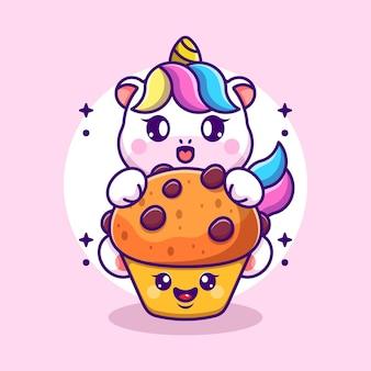 Simpatico unicorno con cartone animato cupcake