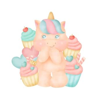 Unicorno carino con cupcakes