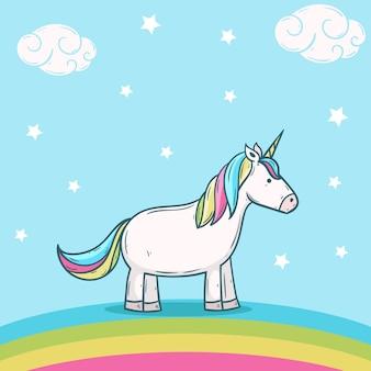 Unicorno carino con illustrazione arcobaleno ciambella