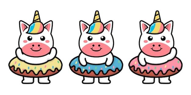 Unicorno carino con illustrazione di cartone animato ciambella