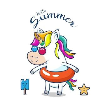 Unicorno carino con galleggiante Vettore Premium