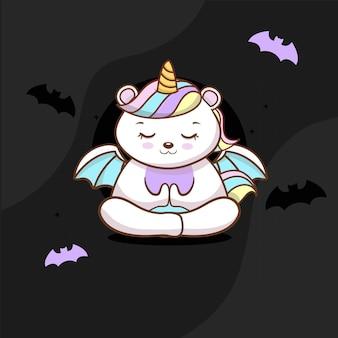 Simpatico unicorno con halloween vettore gratuito