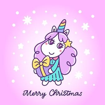 Simpatico unicorno con un regalo di capodanno su uno sfondo viola con fiocchi di neve