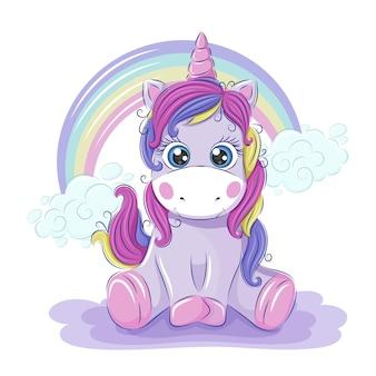 Unicorno carino con un arcobaleno. illustrazione vettoriale per bambini. stampa per tessuti, cartoline per bambini, adesivi. formato eps10.