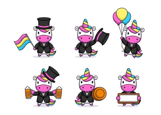 Simpatico unicorno con mascotte in costume per il giorno di san patrizio