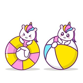 Simpatico unicorno con oggetti estivi