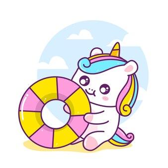 Simpatico unicorno con pneumatici da nuoto in estate