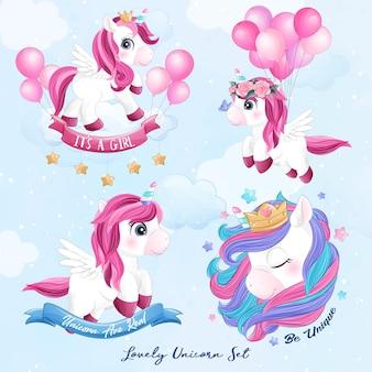 Unicorno carino con set di illustrazione dell'acquerello