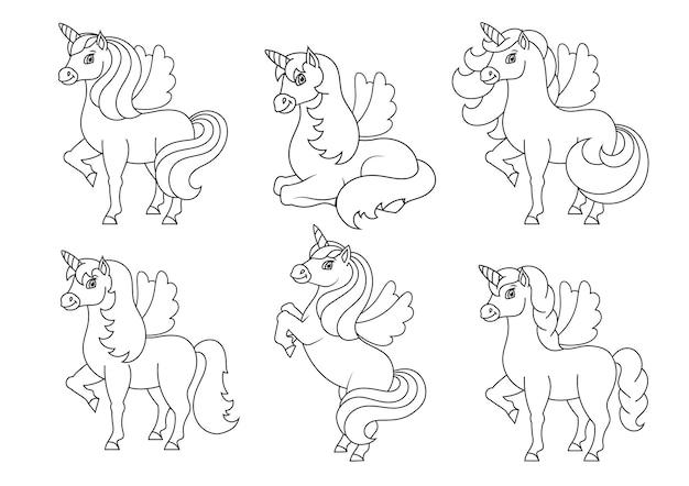 Unicorno carino con le ali cavallo magico fata pagina del libro da colorare per bambini
