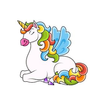 Simpatico unicorno con ali cavallo magico fatato