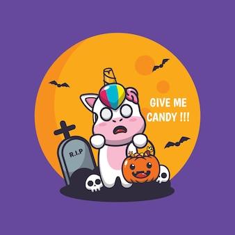 Simpatico unicorno zombie vuole caramelle simpatica illustrazione di cartone animato di halloween