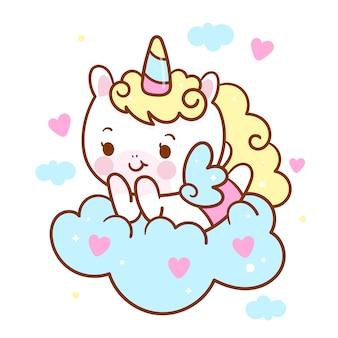 Simpatico cartone animato angelo unicornio su nuvola