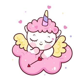 Simpatico cartone animato cupido unicorno su nuvola
