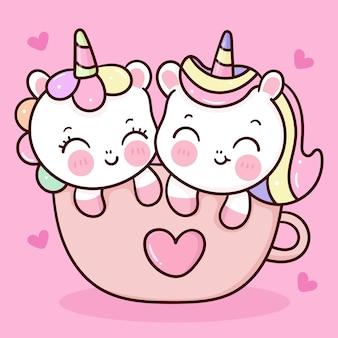 Vettore di coppia di unicorni carino in tazza per animale kawaii di san valentino