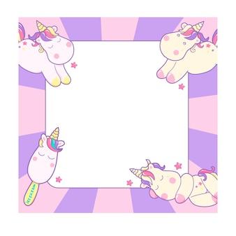 Simpatici unicorni e diversi elementi magici e sfondo rosa pastello, con spazio per testo e disegni per bambini