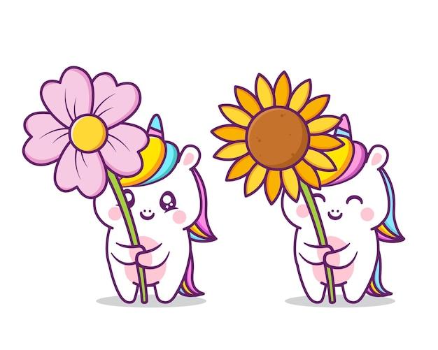 Unicorni carino con grande fiore