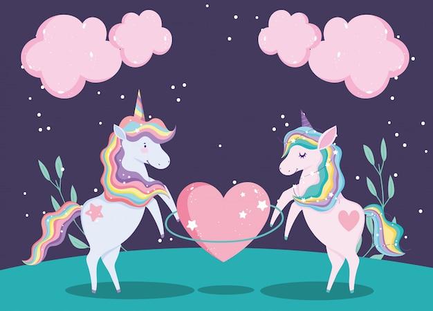 Simpatici unicorni con un enorme cuore e nuvole fogliame natura magica cartone animato