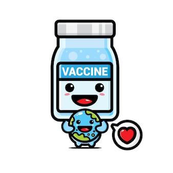 Simpatica mascotte del vaccino che abbraccia la terra