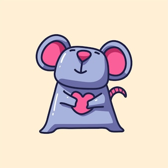 Simpatico cartone animato del mouse di san valentino