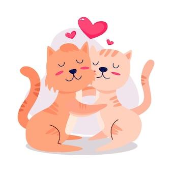 Coppia di animali di san valentino carino