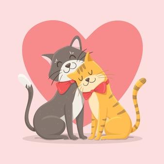 Coppia di gatti san valentino carino Vettore Premium
