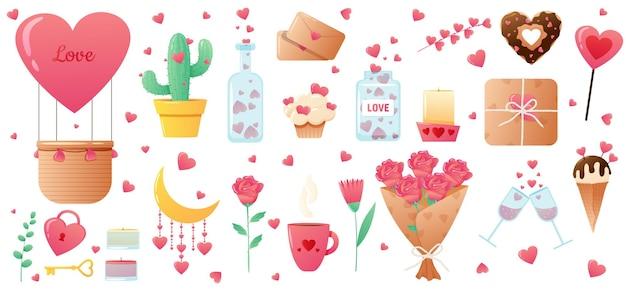 Elementi di san valentino carino isolati su bianco