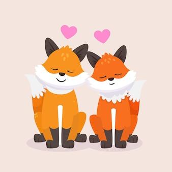 Coppia di volpe carino san valentino